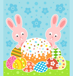 easter background card with cake and rabbits vector image vector image