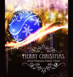holiday background with blue christmas ball vector image