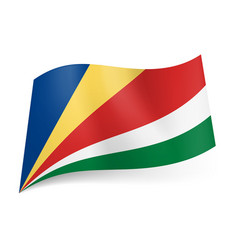 national flag of seychelles oblique blue yellow vector image vector image