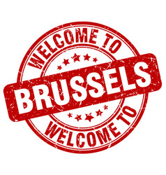 Welcome to brussels red round vintage stamp vector