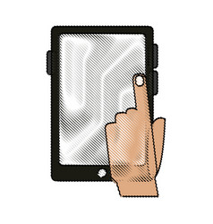Color blurred stripe of tablet tech device with vector