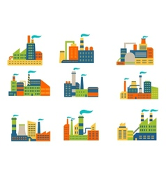 Factories and plants set vector image