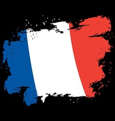 France flag grunge style Brush strokes and ink vector image
