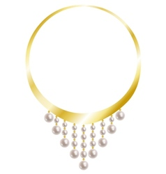 Gold necklace with pearl vector image