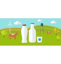 Organic Milk Farm Concept Web Banner vector image vector image