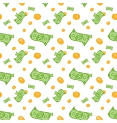 Seamless pattern of money bills and coins vector image vector image