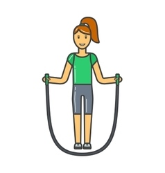 Young girl jumping rope fitness sport training vector image