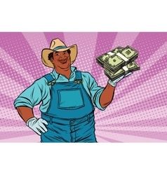 African American farmer with a bundle of money vector