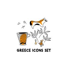 Ancient greek pottery horse vase decor simple vector