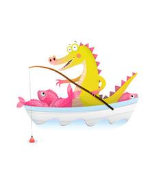 Baalligator crocodile with fishing rod in boat vector
