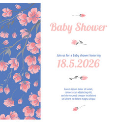 Baby shower invitation card with flowers vector