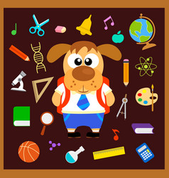 Back to school seamless background with dog vector