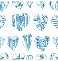 Background hand drawn hearts vector