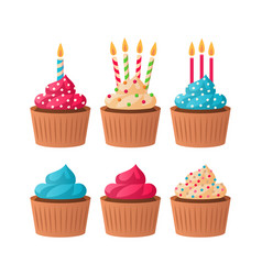 birthday cupcakes colorful pink blue and vanilla vector image