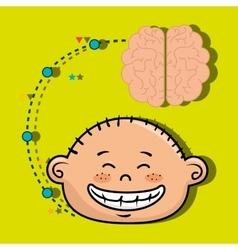 Boy cartoon brain idea vector