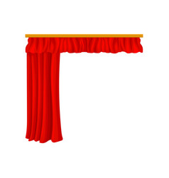 bright red velour or velvet curtains with vector image