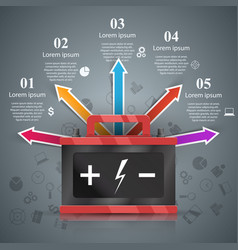 Business infographics battery car icon vector