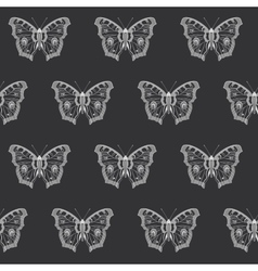 Butterfly black and white seamless pattern vector image