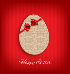 Cardboard easter egg with bow vector