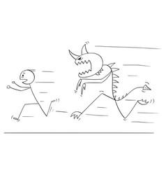 Cartoon of scared man running away from monster vector