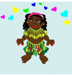 cartoon Papuan hula girl vector image