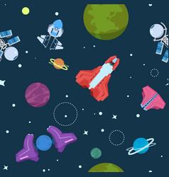 Cartoon space seamless pattern alien planets ufo vector