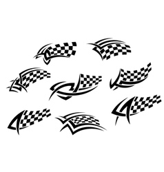 Checkered flags in tribal style vector image