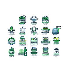 cleaning service premium quality logo design set vector image
