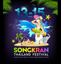 colorful amazing songkran thailand festival water vector image