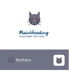 creative cat logo design flat color logo place vector image