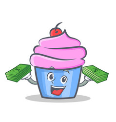 Cupcake character cartoon style with money vector