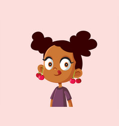 Cute african girl with cherries on her ears vector