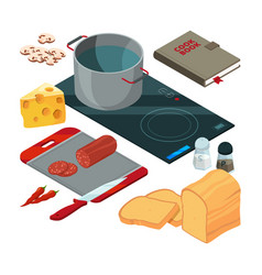 Different cooking tools on the kitchen vector