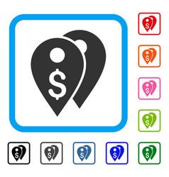 dollar bank marks framed icon vector image