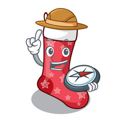 Explorer cartoon christmas sock homemade fur red vector