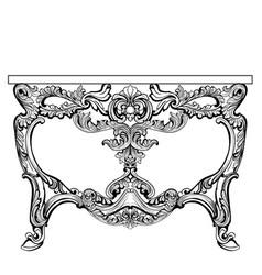 Exquisite baroque console table engraved vector