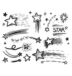 falling flying shining sparkling star doodle vector image