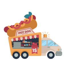 Fast food truck hot dog cheap street meals vector