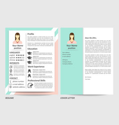 female resume and cover letter template vector image