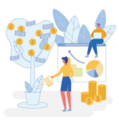 flat investment and profit growth project vector image