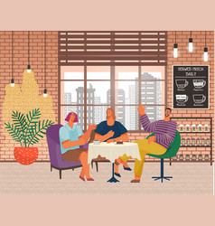 friends meeting in cafe people drinking coffee vector image