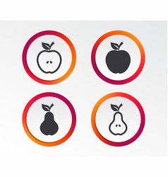 fruits with leaf icons apple and pear vector image