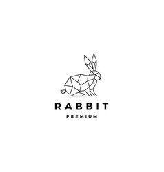 Geometric rabbit hare bunny logo icon origami vector
