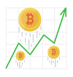 growth bitcoin graph cryptocurrency income chart vector image