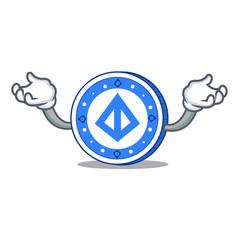 Hand up loopring coin character cartoon vector