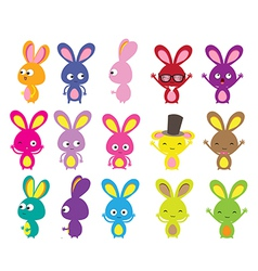 Happy Easter bunny colorful set vector