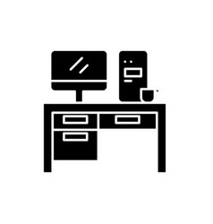 home computer desk black icon sign on vector image