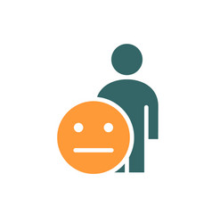 Human with expressionless emotions colored icon vector