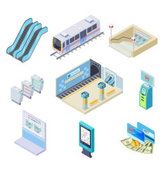 isometric metro elements subway train station vector image