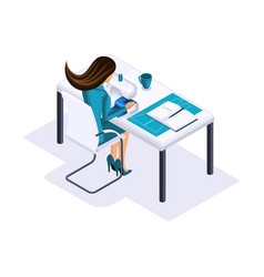isometric tailor a designer sews clothes for disp vector image